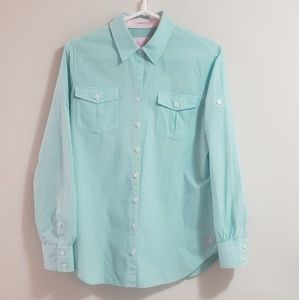 Lilly Pulitzer Gingham Shirt, BlueGreen, Sz S